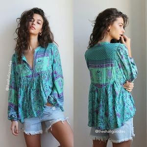 SPELL Portobello Road Blouse Turquoise Floral Top